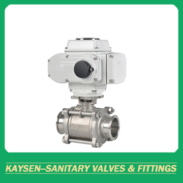 3A Hygienic 3PC electric ball valves clamped end